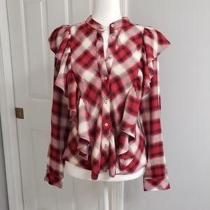 🆕✨ Zara Blouse Cranberry Plaid Size M